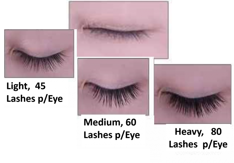Lash extensition density examples